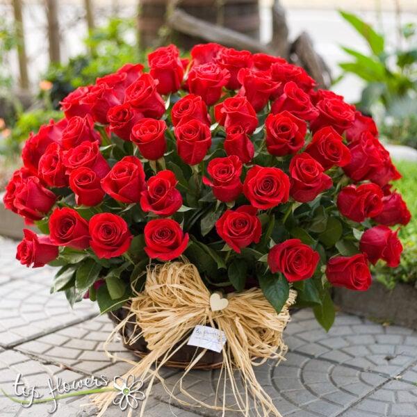Basket 101 Red Roses