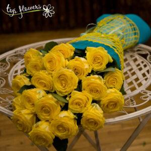Класически букет от 11 жълти рози
