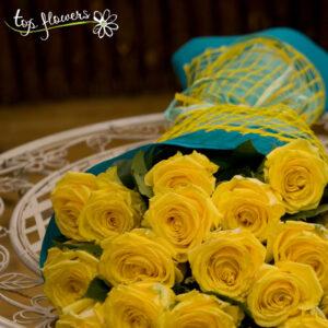 Класически букет от 21 жълти рози