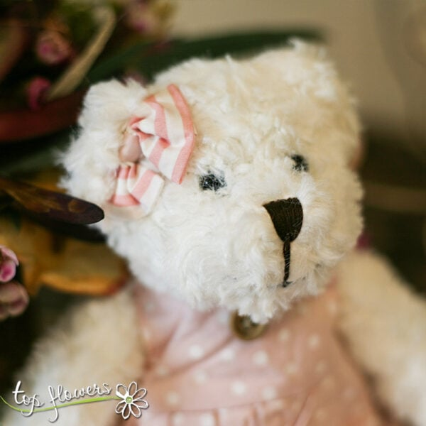 Teddy bear with pink dress | Hand sewn