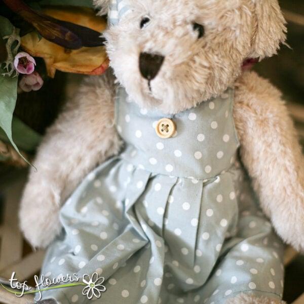 Teddy bear in a blue dress   Hand sewn