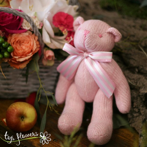 Teddy bear pink   Hand knitted