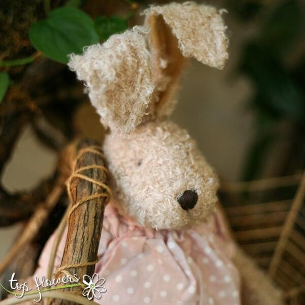 Plush pink bunny | Hand sewn