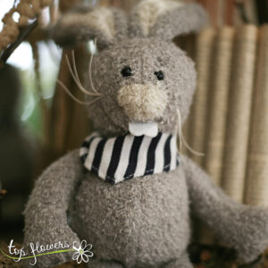 Plush bunny with black bandana | Hand sewn
