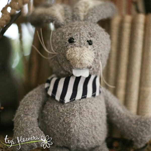 Plush bunny with black bandana | Hand sewn