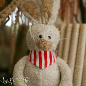 Plush bunny with red bandana | Hand sewn