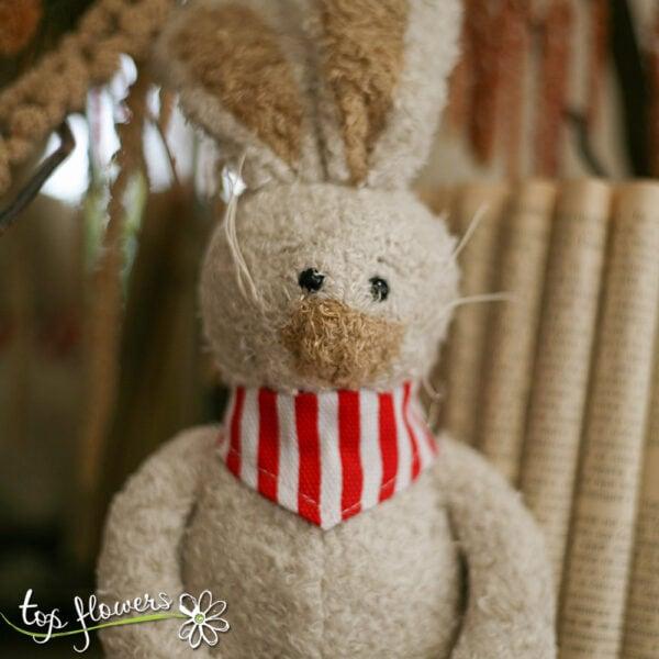 Plush bunny with red bandana | Hand sewn